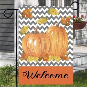 Pumpkin Duo in Chevron Garden Flag